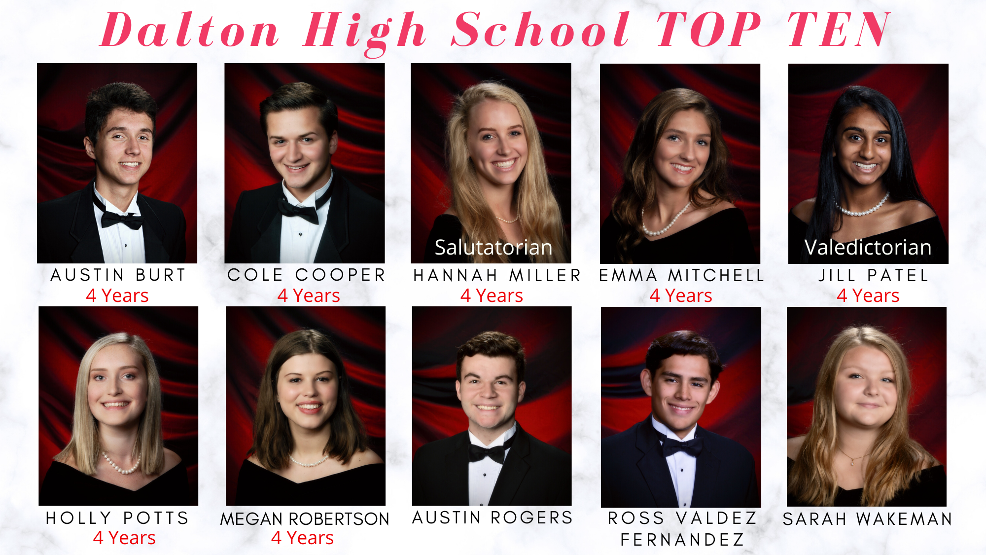DHS Top Ten students of the Class of 2020